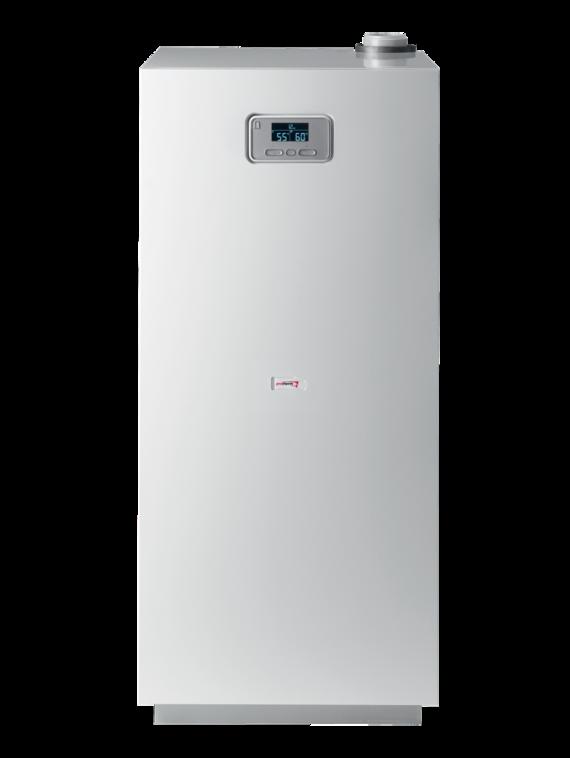Stacionární kondenzační plynový kotel večtyřech výkonových provedení splynulou modulací výkonu